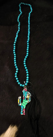 Ataggirl Cactus on Turquoise Chain Necklace