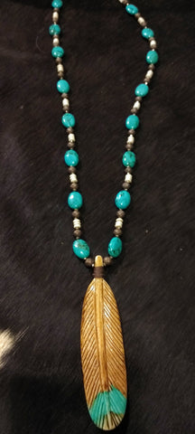 Ataggirl Long Bead Bone Feather Necklace
