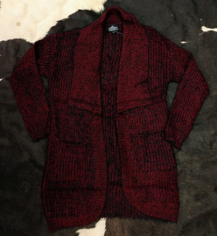 Women's Soft Oxblood Red Cardigan