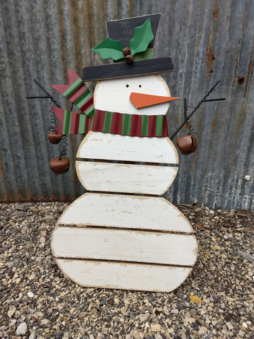 Snowman with Jingle Bells Standing Sign