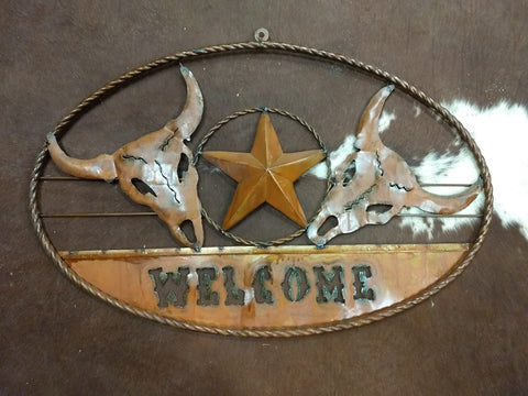 Metal Cow Skull Welcome Sign