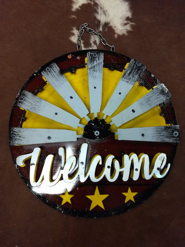 Metal Welcome Windmill Sign