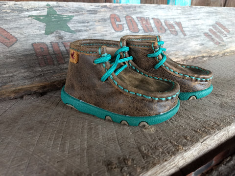 Infant Turquoise Twisted X Moccasin