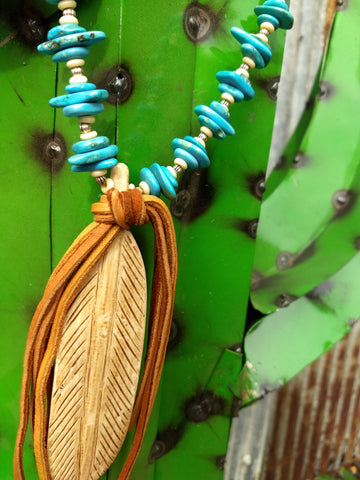 Ataggirl Bone Feather with Turquoise Necklace