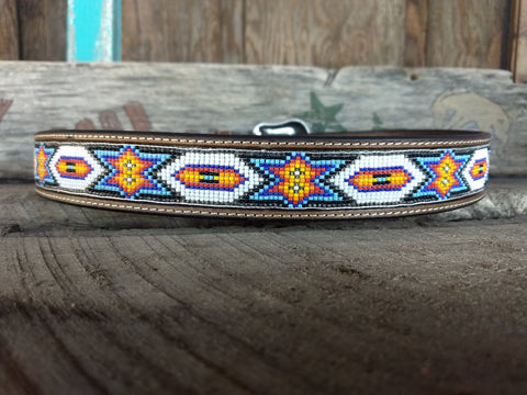 White & Black Beaded Inlay Belt