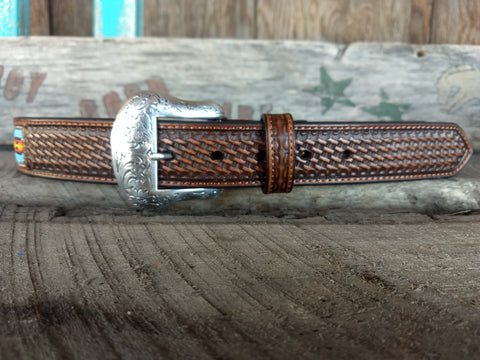 Teal & Black Beaded Inlay Belt