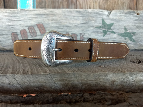 Boy's Brown & Blue Beaded Inlay Belt