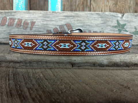 Tooled Brown & Blue Beaded Inlay Belt