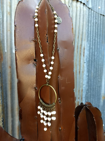 White Hoop Dangle Necklace