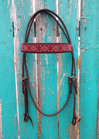 Cashel Browband Beaded Turquoise Rust Headstall