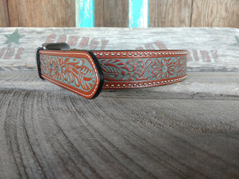 Men's Tan Hand Tooled Belt