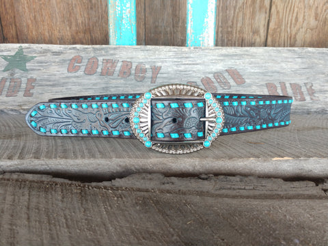 Women's Teal Buckstitch Belt