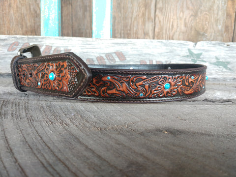 Men's Tan Floral Tooled Belt