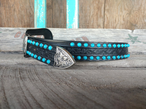 Women's Black Tooled Belt