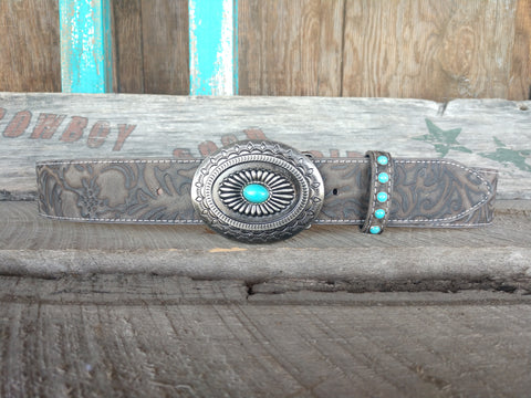 Women's Grey Tooled Belt