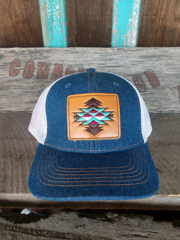 Ariat Denim Leather Patch Hat