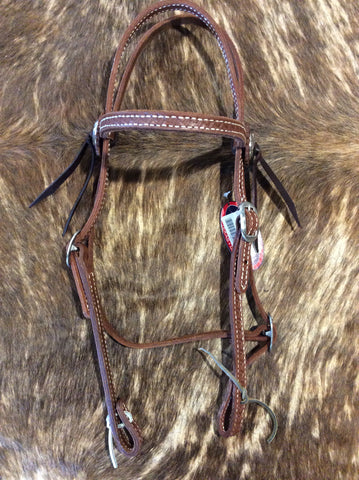 "5/8"" Hand Tooled Basket Brow Band Headstall"