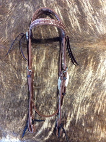 "5/8"" Hand Tooled Running W Headstall"