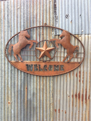 Metal Two Horse Oval Sign