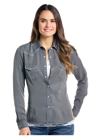 Panhandle Women's Grey White Stitch Snap Button Up