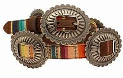 Ariat Women's Serape with Silver Slide Conchos Belt
