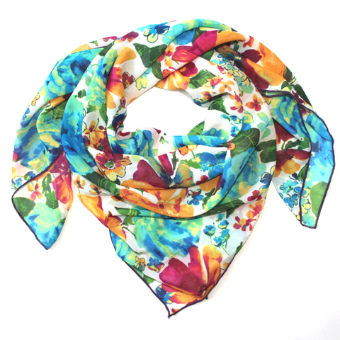 Whipin Petal: Bright Floral Print Wild Rag