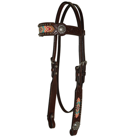 Circle Y Bead Inlay Floral Headstall