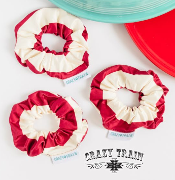 Crazy Train Candy Cane Scrunchie