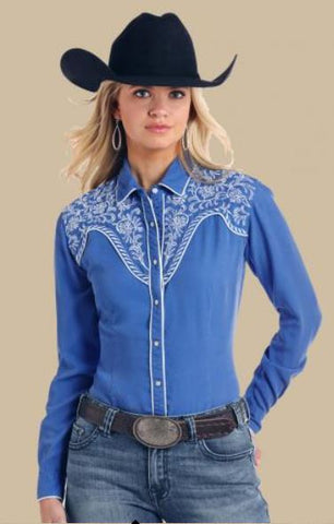 Panhandle Women's Cobalt Embroidered Shoulder Snap Shirt