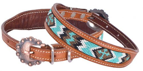 Turquoise Cross Beaded Dog Collar
