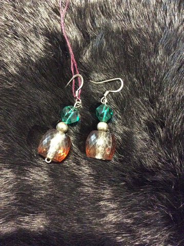 Green/Orange Bead Earrings