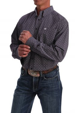 Men's Cinch Purple Print Long Sleeve Shirt