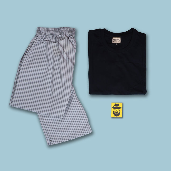 Balanced Grey Stripes Pyjama & T-Shirt