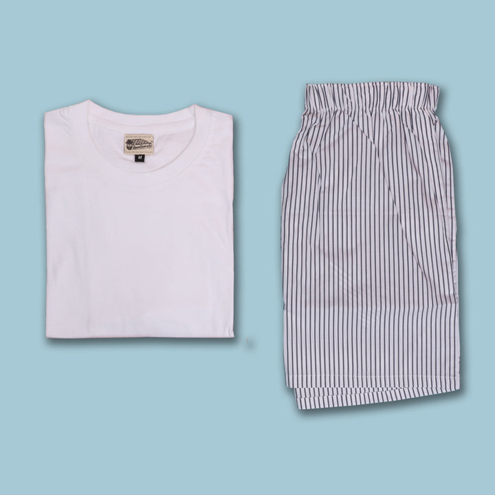 Pencil Striped White Boxer & T-Shirt