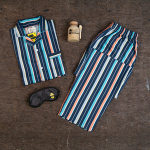 Orange Turquoise Indigo Stripes Night Suit