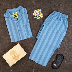 Awning Stripe Blue Night Suit
