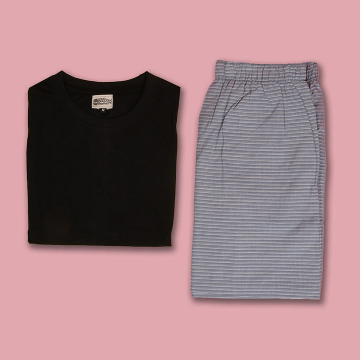 Horizontal Unbalanced Grey stripes Boxer & T-Shirt
