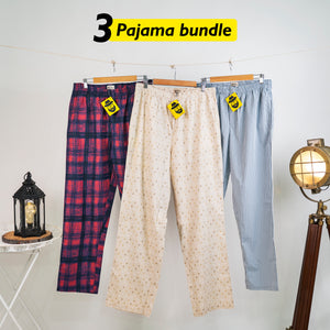 Bauda Loose Pyjama Set of 3 - XL for Men