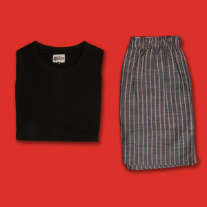 Linen Look Pinstripe Dark Grey Boxer & T-Shirt