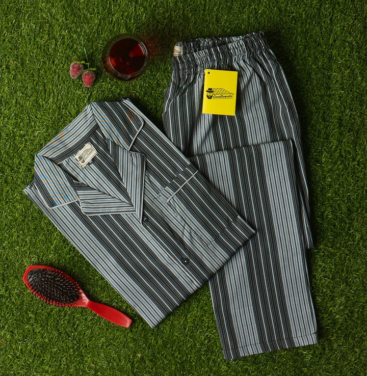 Black Grey Candy Striped Night Suit