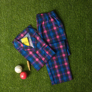 Cobalt Blue Neon Pink Checkered Design Night Suit