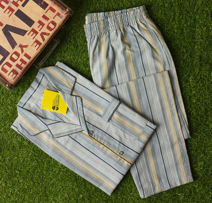 Fawn Grey Pin Striped Night Suit