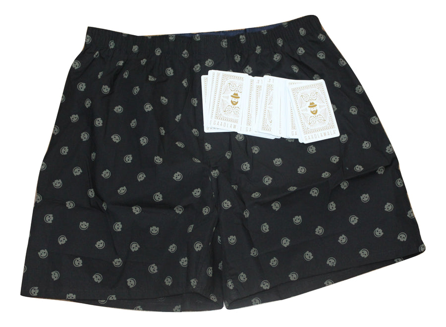 Black Smiley Face Print Boxer