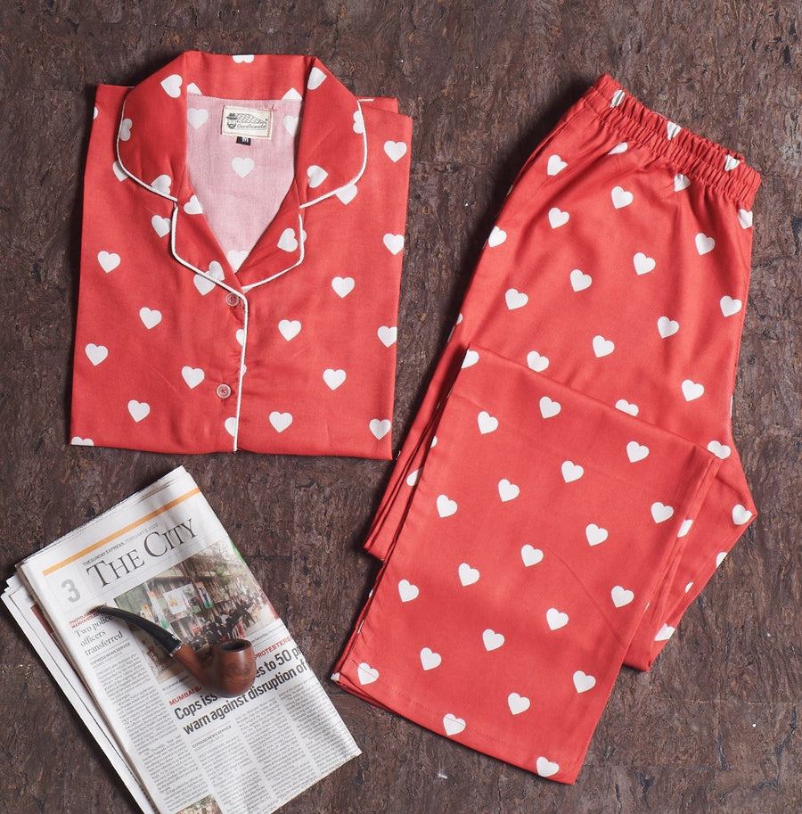 Red White Heart Long Length Suit