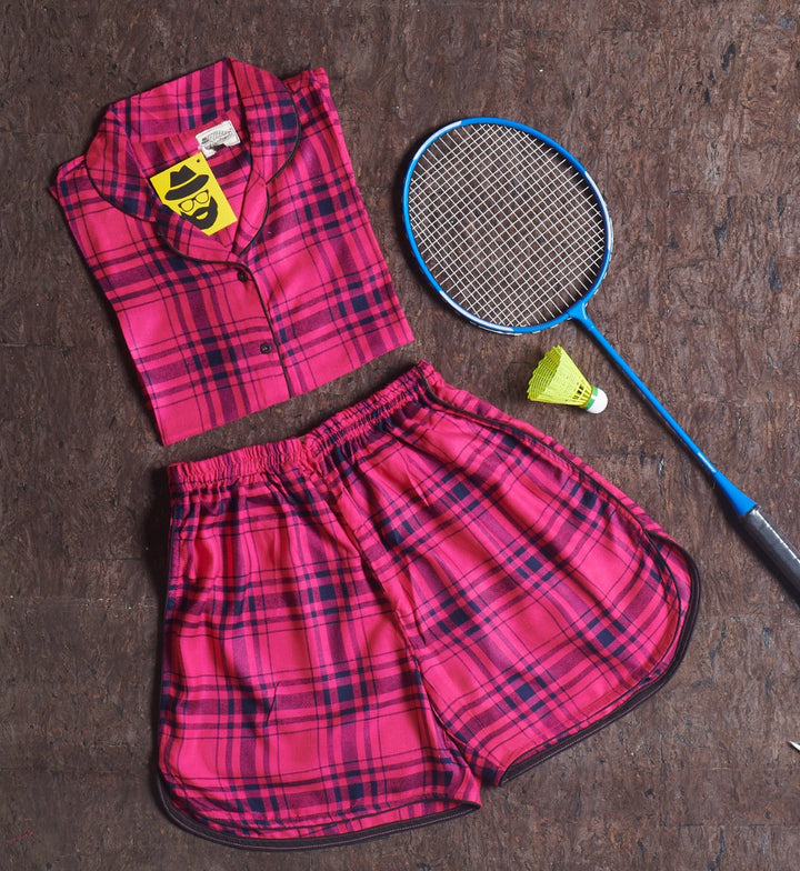 Neon Pink Black Checkered Short Suit