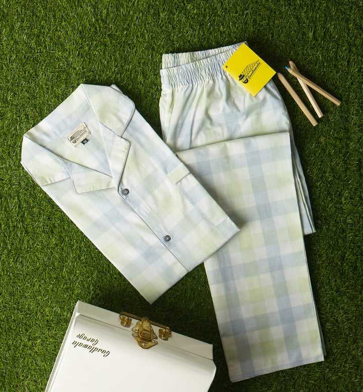 Light Grey Light Green & White Checkered Night Suit