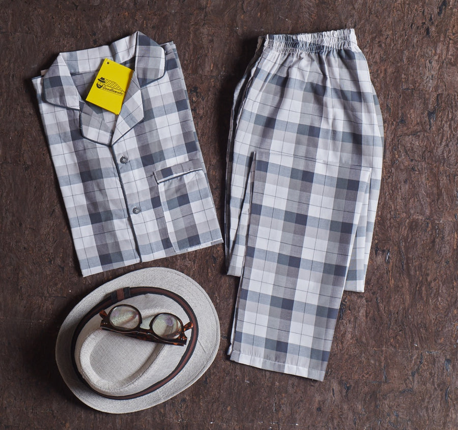 Light Blue Grey Checkered Nightsuit