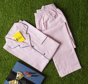 Pink Base Plus Navy Blue Prints Night Suit