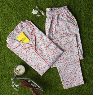 Red Small Floral Prints Night Suit