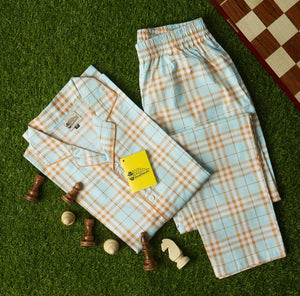 Sky Blue Orange & White Checkered Night Suit